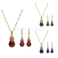 Fashion Gold Plated Crystal Gemstone Necklace Earrings Wedding Jewelry Set