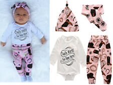4PC Newborn Infant Baby Boys Romper Jumpsuit+Pants+Hat+Headband kids Clothes Set