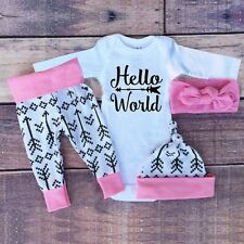 4PC Toddler Newborn Baby Boy Girl Romper Jumpsuit+Pants+Hat+Headband Clothes Set