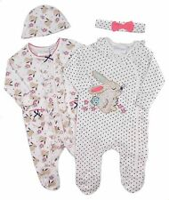 Baby Girls Two Sleepsuits and Cradle Cap Sets Woodland Bunny Theme NB to 9-12