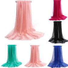 Fashion Women  Silk Solid Shawl Wrap Scarves Long Wraps Shawl Beach Silk Scarf