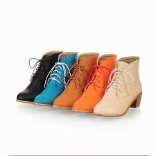 Women's Ladies Synthetic Leather Med Heels Pumps Lace Up Ankle Boots Shoes