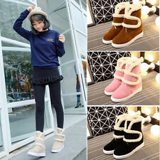Winter Womens Girls Warm Suede Fur Lined Mid-calf Snow Flat Short Boots Shoes C