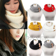 Winter Warm Infinity Two Circle Cable Knit Cowl Neck Long Scarf Shawl Women