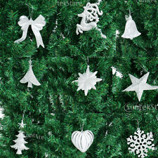 10pcs Christmas Tree Pendant Heart Reindeer Snowflake Bowknot Decorations Silver