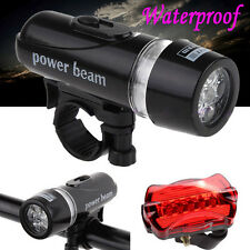 5 LED Lamp Bike Bicycle Front Waterproof Head Light + Rear Safety Flashlight Set