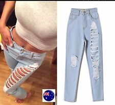 NEW Women Lady Fashion Destroyed Hole Light Blue Denim Ripped Jeans Crop Pants