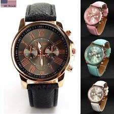 Fashion Geneva Ladies Women's Watches Gold Case PU Leather Band Wrist Watch #IC