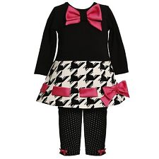 Baby and Little Girl Black White Pink Houndstooth Dress-Legging Set, Bonnie Jean