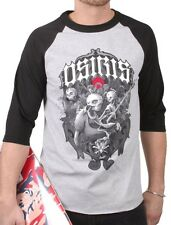 Osiris Mens Huit Haunted Black Heather Skull Zombie Raglan Shirt NWT
