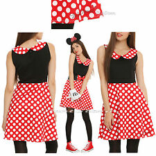 DISNEY MINNIE MOUSE Red White POLKA DOT Cosplay Costume DRESS JRS. S-XL NEW