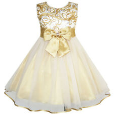 Sunny Fashion Flower Girls Dress Bow Tie Champagne Wedding Pageant Size 2-10