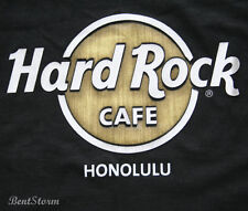 HARD ROCK CAFE HONOLULU HAWAII BLACK T-SHIRT TEE Wood Panel LOGO Men's SZ S-3X