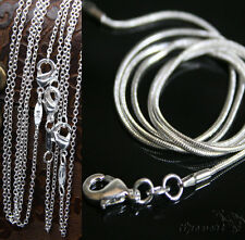 "Wholesale Solid Silver Plated Necklace Chains 1MM/2MM Rolo Snake Chain 16""-24"""