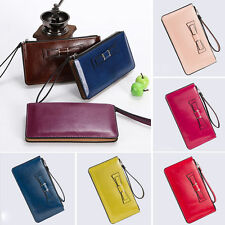 Hot Womens Leather Zipper Coin Card Long Wallet Clutch Purse Bowknot Handbag