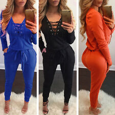 Sexy Womens Long Sleeve Casual Bodycon Bandage Jumpsuit Playsuit Romper Clubwear