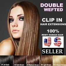 Real Remy Thick Clip in 100% Human Hair Extensions Double Weft Full Head HQ648