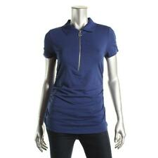 MICHAEL Michael Kors 1235 Womens Zip Front Ruched Collared Casual Top Shirt BHFO