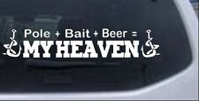 Pole Bait Beer My Heaven Fishing Car Truck Window Laptop Decal Sticker 12X2.2