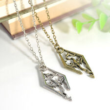 Cool The Elder Scrolls Logo Skyrim Dragon Pendant Charm Necklace Chain Vintage