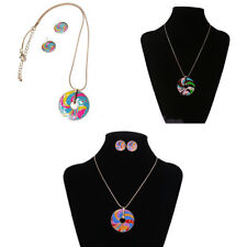 Colorful Whirl Enamel Disc Pendant Sweater Chain Necklace Earring Jewelry Set