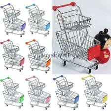 Mini Double Tier Supermarket Shopping Cart Storage Trolley Kids Pretend Play Toy