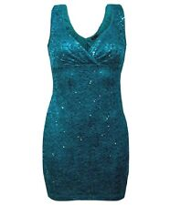 Stunning Brand New Ladies Teal Lace Sequin Party Cocktail Dress, Sizes 10-14