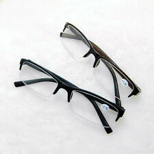 Designer Men Spring Hinge Temple Half Rimless Reading Glasses Reader Black Frame