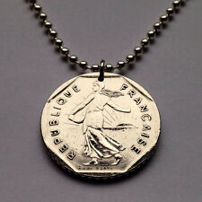 France 2 francs coin pendant French necklace Sower seed planting lady n000369