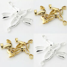 10/50Pcs Silver/Gold Plated Pinch Clip Connectors Bails Jewelry Findings 20mm