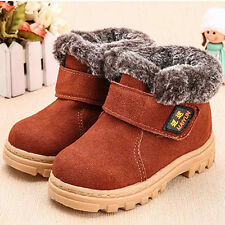 New Toddler Winter Warm Snow Boots Baby Kids Boys Girls Leather Prewalker Shoes