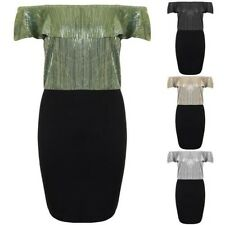 Ladies Ruffle Bardot Off Shoulder Metallic Crinkle Glitter TwoTone Bodycon Dress