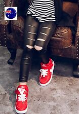 Kid Girl Children Syn Leather Ripped Slit Torn Pants Stretchy Pencil leggings
