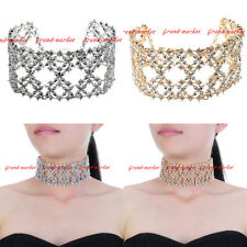 Fashion Jewelry Chain White Clear Crystal Chunky Choker Statement Bib Necklace