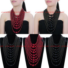 Fashion Resin Pearl Chain Cluster Chunky Choker Statement Pendant Bib Necklace