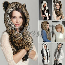 Warm Winter Faux Animal Fur Hat Fluffy Dint Hood Scarf Shawl Glove Plush Cap