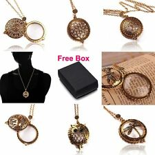 Hot Bronze 5X Magnifying Glass Tree Owl Elephant Dragonfly Pendant Necklace+ Box