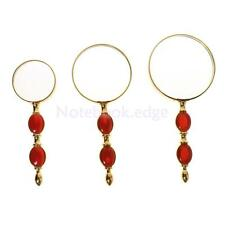 Red Gem Handle Handheld Reading Magnifying Glass Loupe 4X 5X 8X Magnification