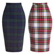 Hell Bunny Jodie Vintage 1950s Tartan Fitted Wiggle Pencil Work Career Skirt
