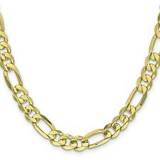 10K Gold 8.75mm Light Figaro Chain Necklace Jewelry