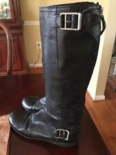 Nine West Womens Size 7.5 Boots Leather Flat Comfort Goth Gothic Punk