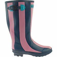 LADIES WYRE VALLEY DARK BLUE STRIPED WELLIES SIZE UK 5 - 7 WELLINGTON BOOTS RAIN