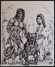 """ TARZAN AND JANE"" . Pen and ink illustration print. RARE! 1/1 edition."