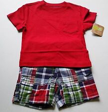 Boys CRAZY 8 outfit NWT red t shirt plaid shorts 3-6 or 6-12 nautical July 4th