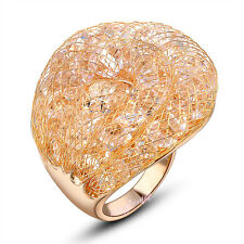 Fashion Wire mesh filled CZ Austrian Crystals Cocktail dome Rings for Women Gift