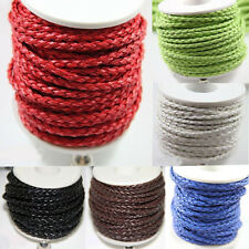 3M Pure Hand-Woven Braided Leather Cord Make Necklace Bracelet 3mm DIY Craft