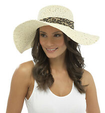 New Ladies Straw Style Wide Brim Summer Sun Hat With Leopard Band And Sequins