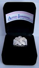 .925 Sterling Silver 4 Band - Grooved X Design Turkish Puzzle Ring