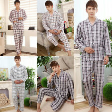 Stylish Mens Casual Plaids Pajamas Fit Sleepwear Long Sleeve Nightclothes Suit
