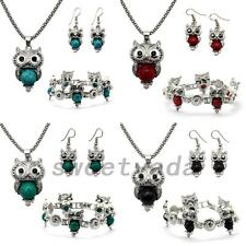 Fashion Jewelry Sets Owl Chain Choker Necklace Pendant Bracelet Stud Earrings